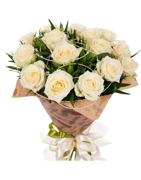 Bouquet of 15 cream roses: delivery of flowers in
