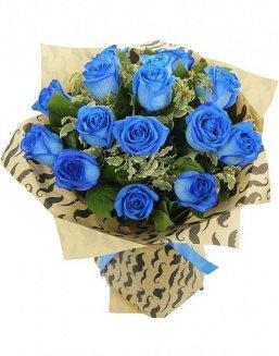 Bouquet of 15 blue roses | Delivery and order flowers in Karaganda