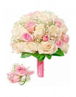 Bouquet of roses: cream and pink | Delivery and order flowers in Karaganda