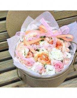Gentle peonies in a round decorative box | Delivery and order flowers in Karaganda
