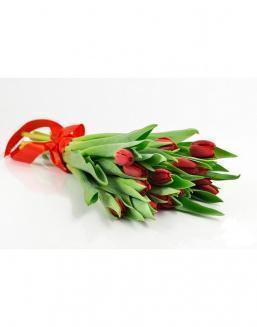 Bouquet of 15 red tulips | Red flowers to colleague flowers