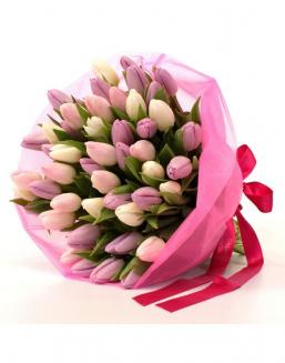 Bouquet of 51 pink tulips | Delivery and order flowers in Karaganda