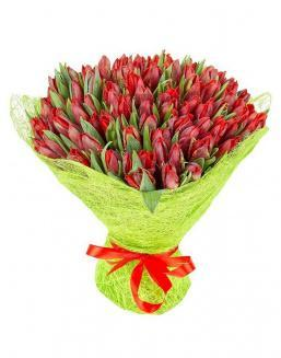 Bouquet 101 red tulips | Delivery and order flowers in Karaganda